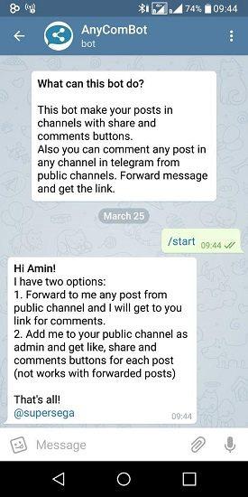 چگونه امکان نظر دادن در کانال تلگرام مان را فعال کنیم؟ 2