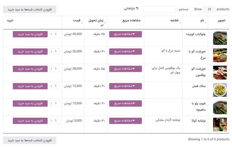 چگونه با افزونه جدول محصولات، منوی غذا یا فهرست محصولات را نمایش دهیم 8